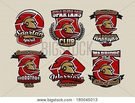 Set of colorful logos, emblems, Spartan helmet and cloak, ancient Greek warrior, a Roman soldier, different fonts, vector illustration
