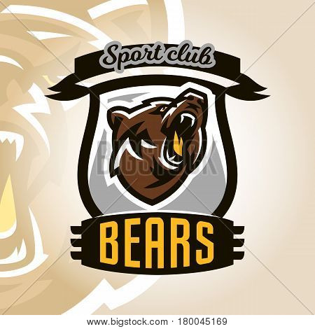 Colorful logo, emblem, growling bear, grizzly, evil predator ready to attack. Sports style, vector illustration, printing on T-shirts