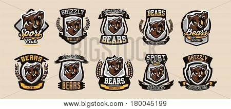 A collection of colorful logos, emblems, growling bear, grizzly, evil predator ready to attack. Sports style, vector illustration, printing on T-shirts