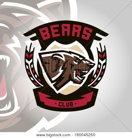 Colourful emblem, logo, snarling and ready to attack bear, grizzly, dangerous predator, the dweller forest. Vector illustration, dynamic and sporty style, printing on T-shirts