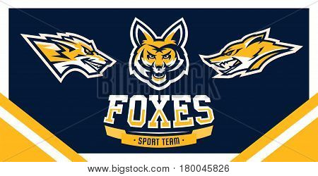 Vector illustration, identity, print, set of logos for companies, teams, sports club, community, aggressive fox ready to attack, forest predator.