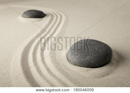 zen stone sand texture background. Spa wellness or yoga theme. Concept for relaxation, meditation harmony, spirituality and purity.