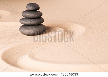 spiritual spa wellness background  zen garden with sand and rock concept for harmony relaxation and meditation tao buddhism and yoga.