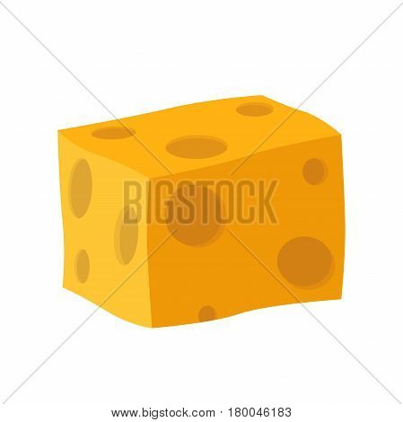 Cheddar, parmesan cheese. Dairy milky product. Made in cartoon flat style.