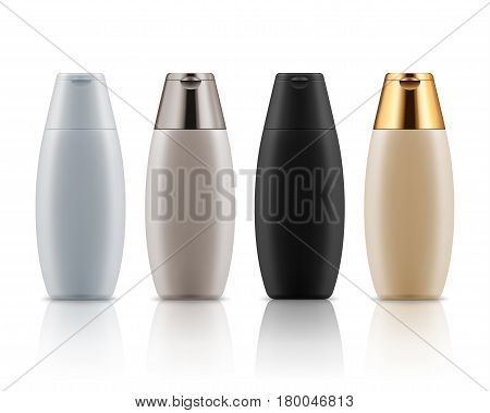 Set of blank templates of cosmetic plastic bottles. Realistic containers for shampoo, shower gel, balsam, body lotion or skin care. White, black, beige and golden packaging for cosmetic product.