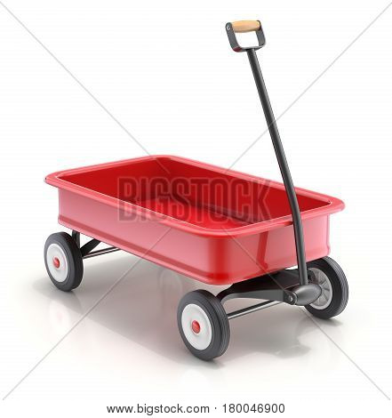 Vintage child's toy little red wagon on white background - 3D illustration