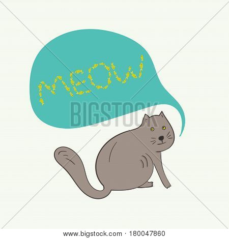 Funny gray cat with meow fish text in blue bubble