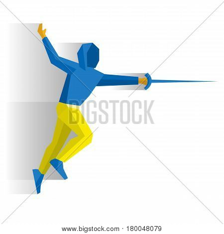 Fencer with a sword or rapier. Athlete isolated on white background with shadows. International sport games infographic. Fencing - flat style vector clip art.