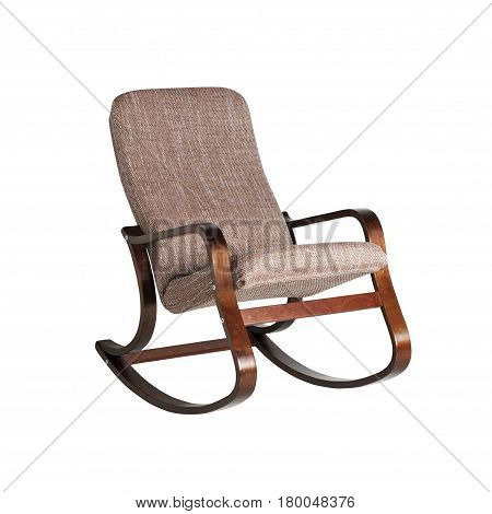 Soft armchair with wooden handles isolated on white background