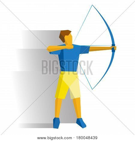 Shooting archer. Athlete with bow isolated on white background with shadows. International sport games infographic. Archery flat style vector clip art.