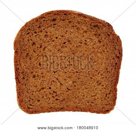 dark brown rye sliced bread isolated on white closeup