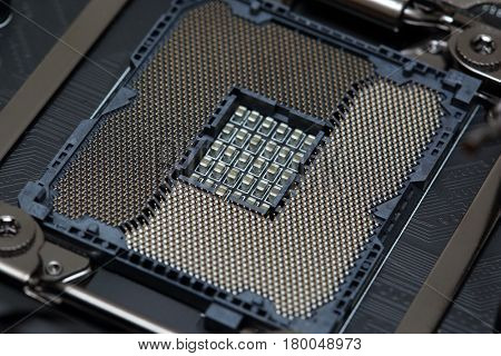 Modern socket for central processor unit CPU on motherboard