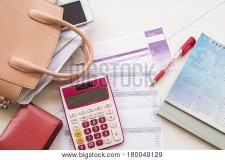 document monthly record expense credit card accounting and prepare go to pay money
