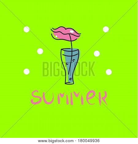Female lips drink cocktail. Hand drawn logo for summer party with lettering. Icon beverages. Vector illustration