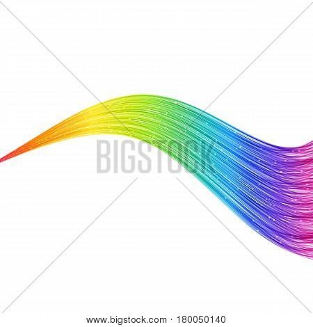 Bright Abstract Horizontal Rainbow Wave Lines. Modern Design Element for Background Presentation Blank Template Cover.