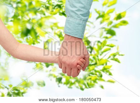 family, childhood, fatherhood and people concept - father and child holding hands over green natural background