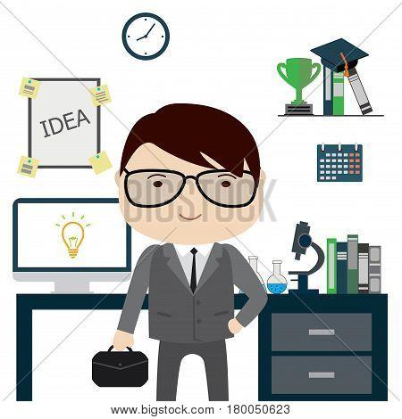 Scientist In Office, Funny Cartoon