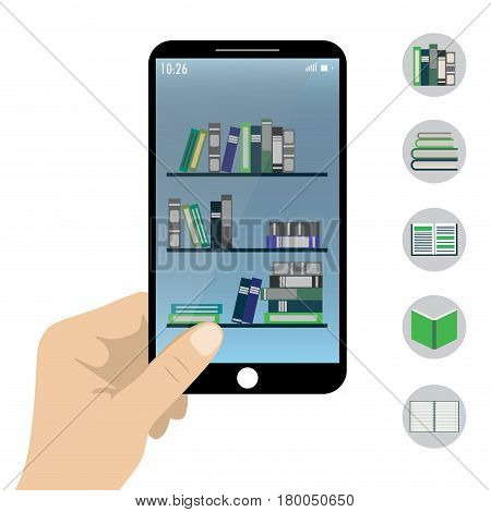 Hand Holding Smart Phone- E-book Reader Application