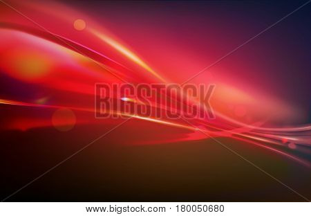 Vector illustration of red abstract background with blurred magic neon light curved lines