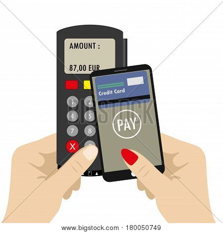 Pos Terminal And Hand Holding Smartphone With Credit Card On Scr