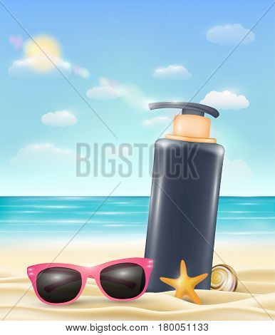 uv protection cream tube with sun glasses starfish and shell on a sand beach