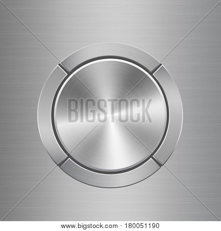 Template for audio control panel with silver metal texture buttons situated around main button on metal texture background