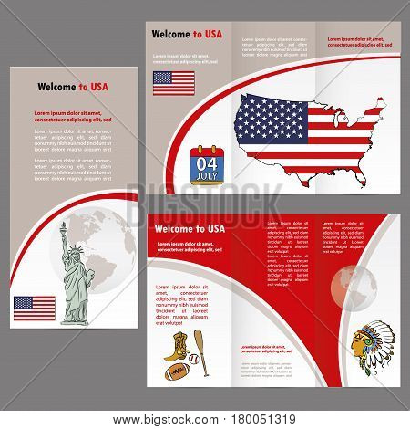 Traveler's Guide Or Banner With A Usa Map,flag And Elements