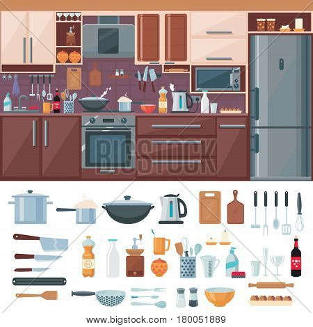 Kitchen interior elements set with refrigerator stove microwave shelves sink utensil tools and cutlery isolated vector illustration