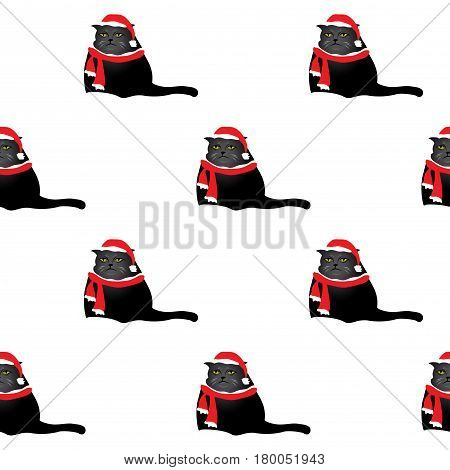 sad  and fat cat in red hat and scarf seamless pattern , stock vector illustration