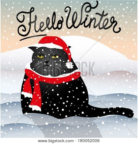 sad cat sitting in the snow, hello winter, stock vector illustration