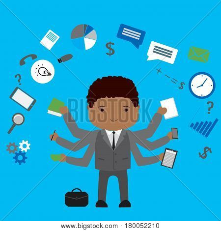 Multitasking  african american Businessman or office worker .Business man shiva with different objects and application, vector illustration