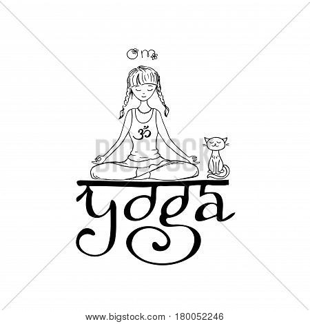 Girl in lotus yoga pose. Doodle hand drawn vector illustration.Logo, icon or card for healthy life, sport, fitness, pilates and yoga club. Smiling face