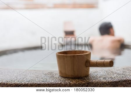 hot spring ladle and woman