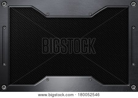Black Carbon Fiber Background With Metal Frame.