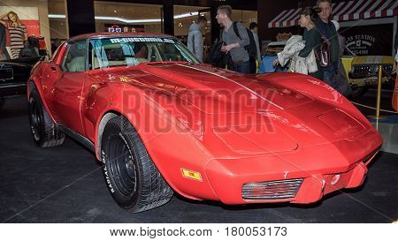Moscow, Russia - April 02, 2017: Red Chevrolet Corvette C3 String Ray, Usa, 1974. Retro Car Exibitio