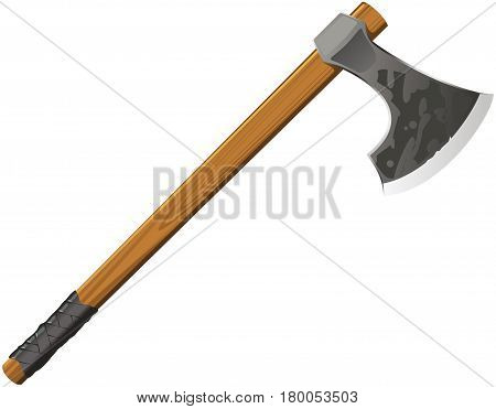 Medieval battle ax on a white background