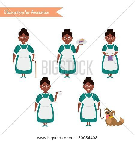 African American Grandmother housewife character for scenes. Funny African American Grandmother housewife cartoon.