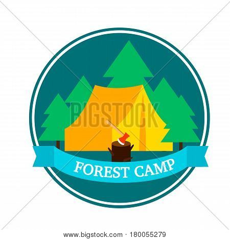 Flat forest camping round logo template with tent hatchet in wood stump and green trees vector illustration