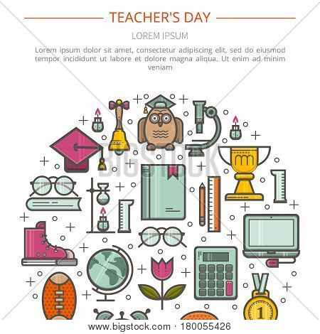 Simple illustration of Teacher appreciation. The concept of education. Vector in a linear style.