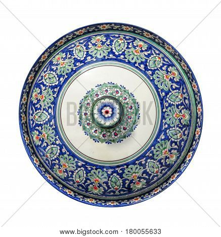 Kazakh souvenir dish isolated on white with Clipping Path