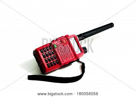Radio communication, Red radio of portable on white background.