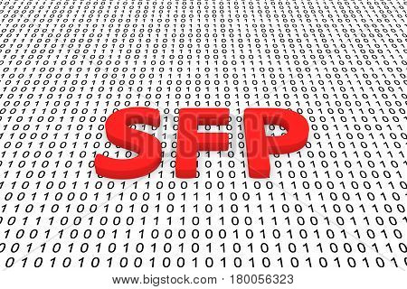SFP in the form of binary code, 3D illustration