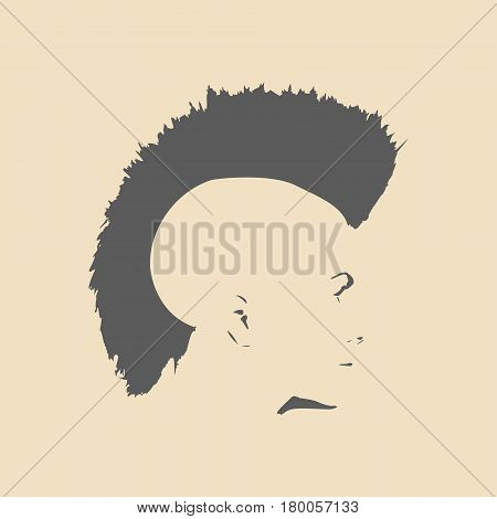 Face side view. Elegant silhouette of a female head. Vector Illustration. Mohawk hair style. Monochrome gamma.
