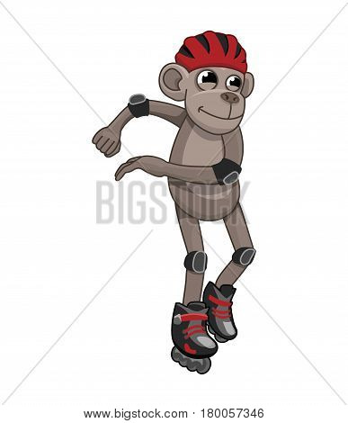 Vector picture of an active monkey. rollerblading