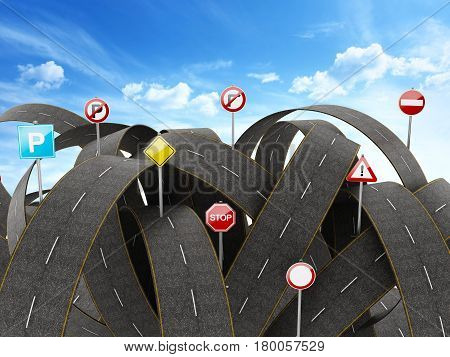 Tangled crowded chaotic roads and many traffic signs. 3D illustration