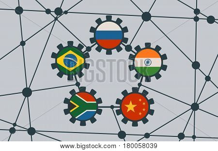BRICS - association of five major emerging national economies members flags in gears icons. Trade union. Molecule And Communication Background. Brochure or web banner design. Connected lines with dots