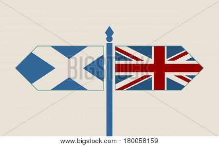 Image relative to politic situation between great britain and Scotland. Politic process named as brexit. National flags on destination arrow road