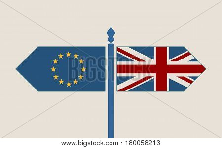 Image relative to politic situation between great britain and european union. Politic process named as brexit. National flags on destination arrow road