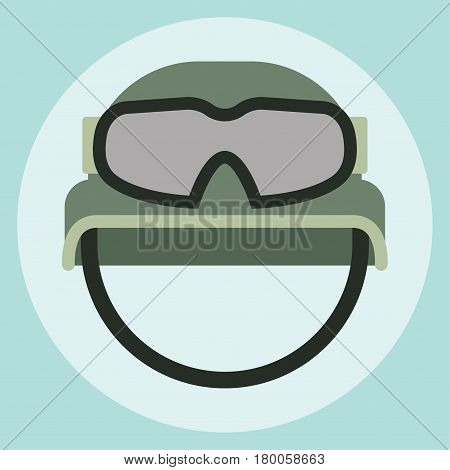 Military modern camouflage helmet army symbol of defense protection and soldier uniform hat protective steel armed equipment vector illustration. Khaki camouflage survival defense head cover.