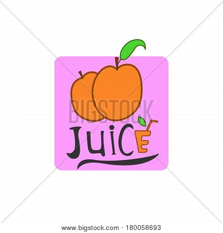 The apricot fruit icon. This illustration can be used for the logo of fruits, juices, jam, etc.